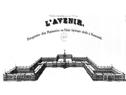 Figur 7: Das Phalansterium: Futuristisches Lebens und Produktionsmodell von Charles Fourier, nach https://de.wikipedia.org/wiki/Phalanstère#/media/File:Phalanstère.jpg