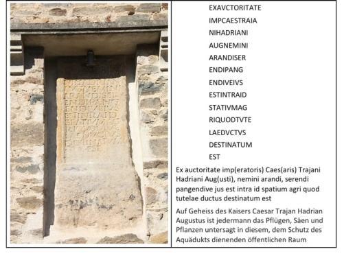 "Figur 6: Stein (links) und Inschrift (rechts) der ""Pierre de Chagnon"" (https://commons.wikimedia.org/wiki/File%3A01._Pierre_de_Chagnon_-_Aqueduc_du_Gier.JPG"
