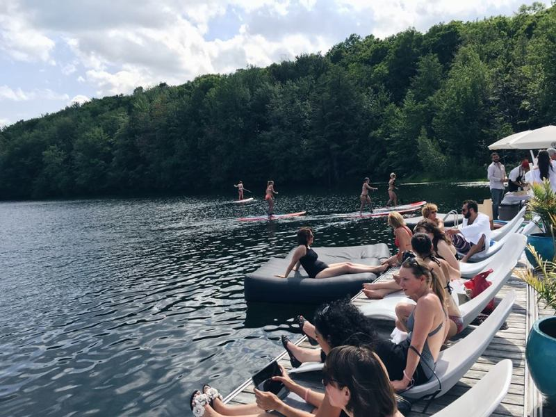 Spa Balnea Media Event Water Lake Eastern Townships Women Standup Paddle boarding