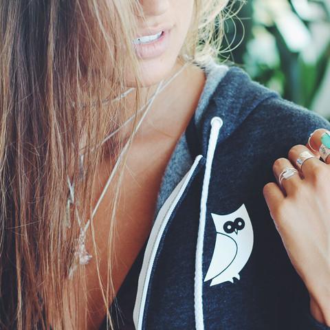 Girl grey sweater hoodie owl clothing vegan organic ethical Montreal