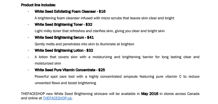 Thefaceshop white seed pricing