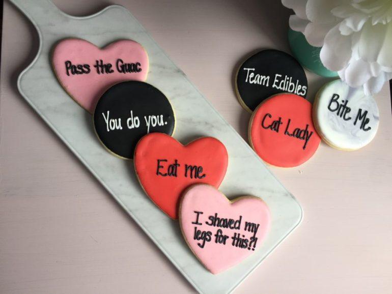 Cookies Valentines Day Anti Valentine Snacks Flatlay Cookies