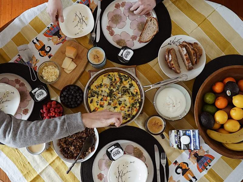 Agropur brunch sunday friends flatlay home cooked