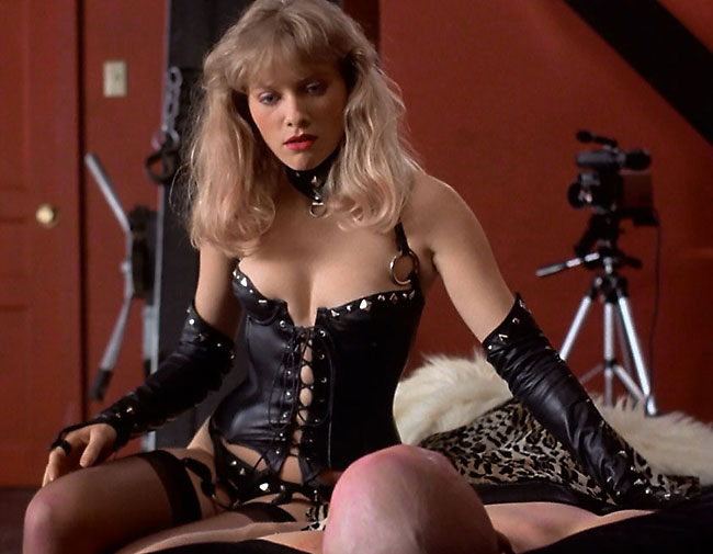 celeb mistress barbara crampton in leather giving handjob