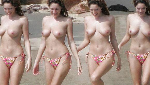 kelly brook big boobs at beach