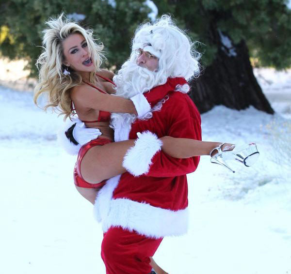 courtney stoddern in underwear with santa