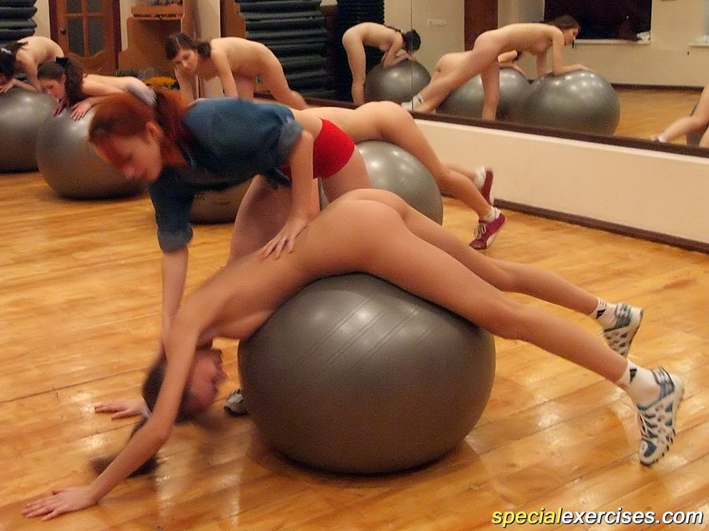 Naked exercises with fitness ball