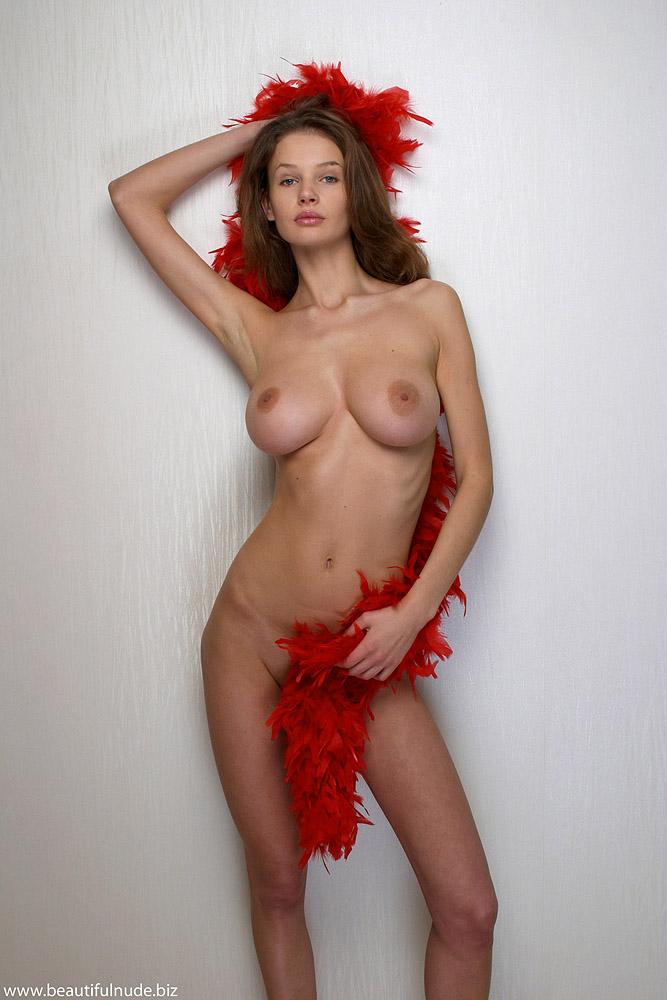 Kristina with a Red Feather Boa  NudesPuricom