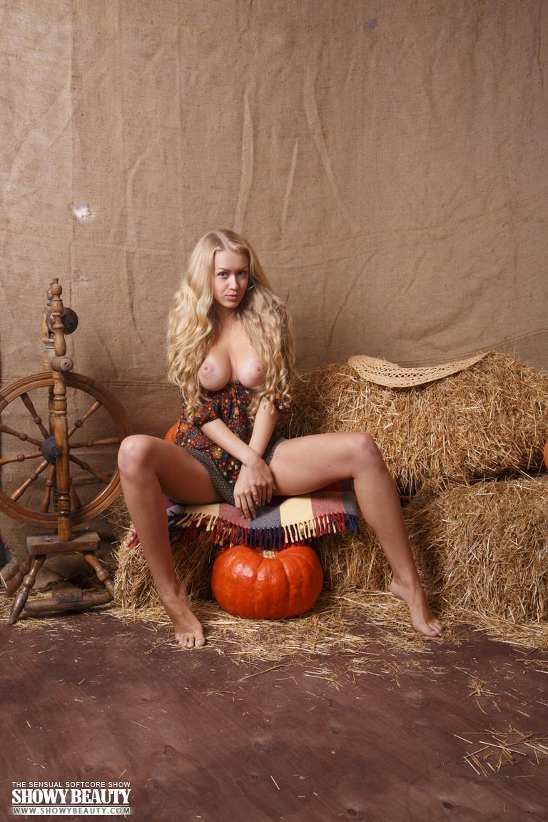 Busty Blonde Farmer in the Hay Barn  NudesPuricom