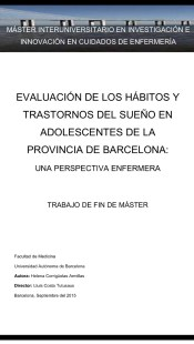 Evaluación de los hábitos y trastornos del sueño en adolescentes de la provincia de Barcelona, Una perspectiva enfermera.