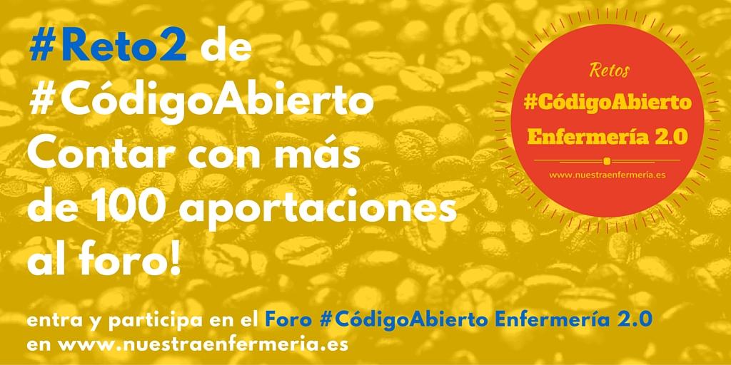 #Reto2 de#CódigoAbiertoContar con másde 100 aportacionesal foro!