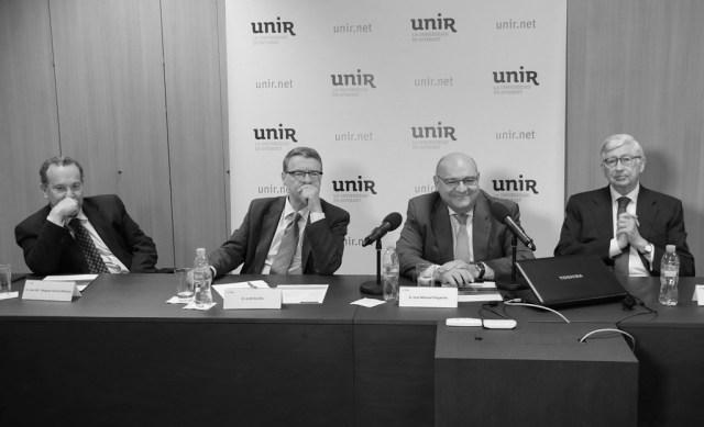 José María Vázquez García-Peñuela (rector de UNIR), Jordi Sevilla, José Manuel Pingarrón y Rafael Puyol. Foto: © Josema Visiers
