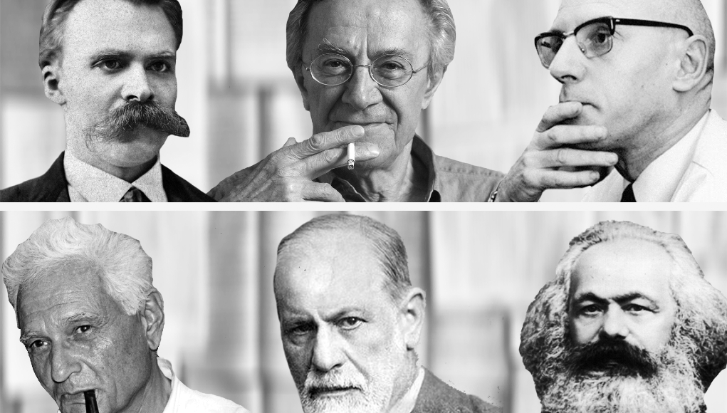 Arriba: Nietzsche, Lyotard, Foucault. Abajo: Derrida, Freud, Marx