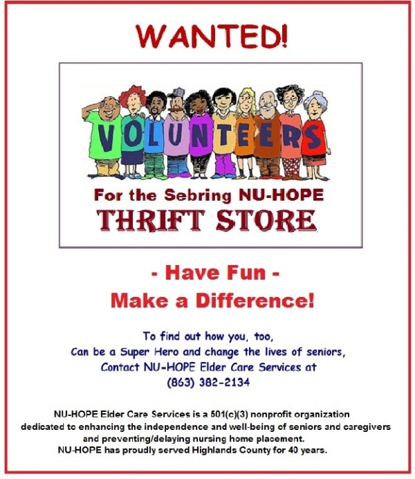 WANTED NUHOPE Thrift Store Volunteer!