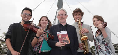 Launching the 2014/2015 NUI Galway Arts in Action programme was poet, RTÉ Arts broadcaster and journalist, Vincent Woods with members of NUI Galway's Medical Orchestra (l-r): Safuan Sabri, Ciara Mawson, Aidan O'Beirne and Ellen Walsh.