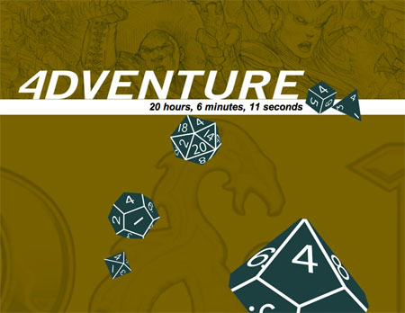 "The text ""4DVENTURE"" and several polyhedral dice (all set to 4)."