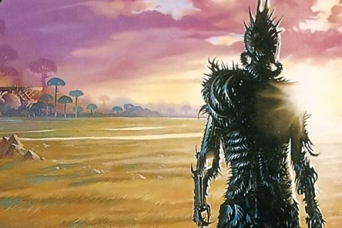 An armored humanoid, covered in sharp spikes, overlooks a vast golden field.