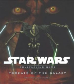 The four-armed robot General Grievous wields an equal number of lightsabers while Darth Maul looks on from the background.