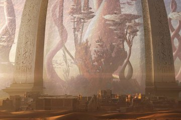 A sealed dome with strange alien structures inside it towers over a nearby town.