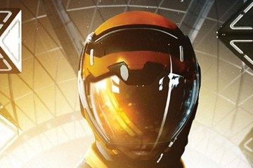 The helmet of a space-suited child appears in front of several geometric shapes.