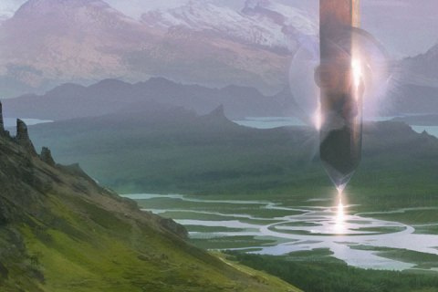 A crystal-like monolith hovers over a river valley.