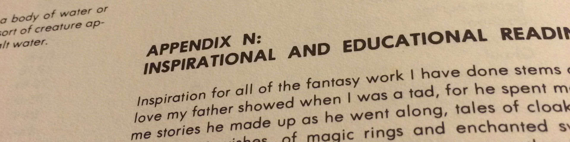 A close up photo of Appendix N, showing the header and a few introductory lines of text.