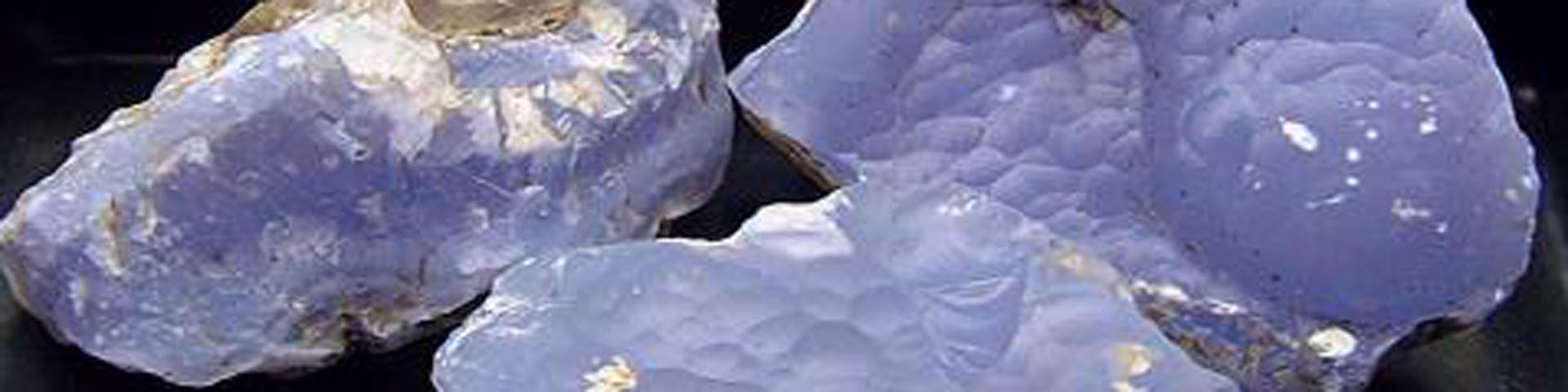 Several samples of blue-white stone