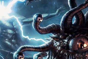 Lightning crackles in the background as a beholder menaces the viewer.