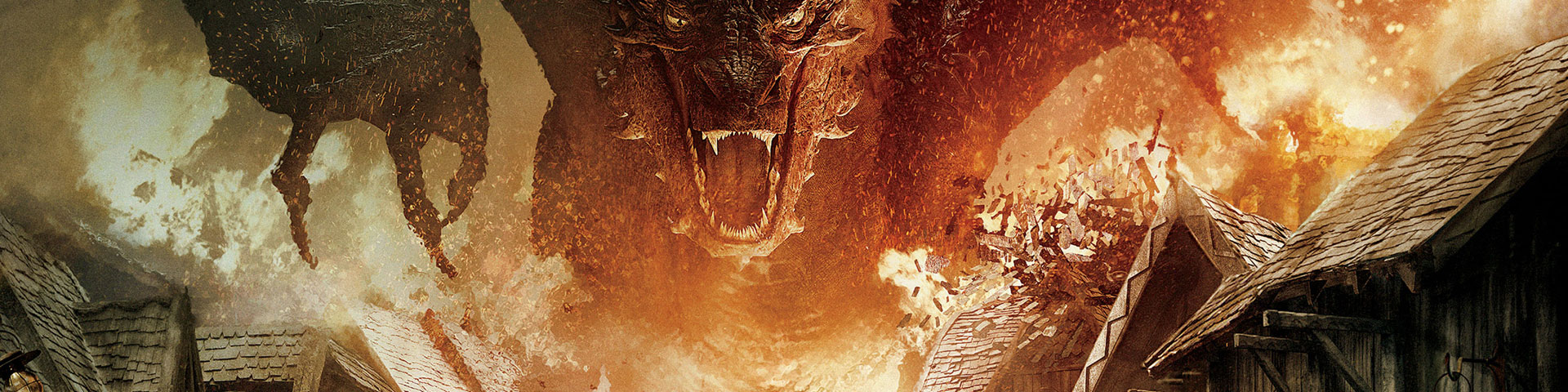 A red dragon looms menacingly over a burning medieval town.