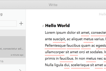 A screenshot of Write, a Markdown app. It features a right-hand nav bar containing document folders, a pane listing recent documents, and and editing window.