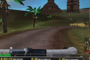 A screenshot of my virtual bike ride through tropical ruins.
