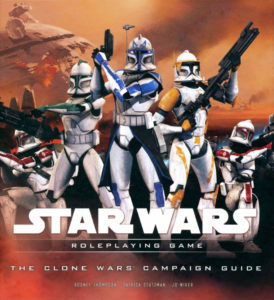 A squad of clone troopers stand ready for battle. A faded orange and red background depicts a battlefield.