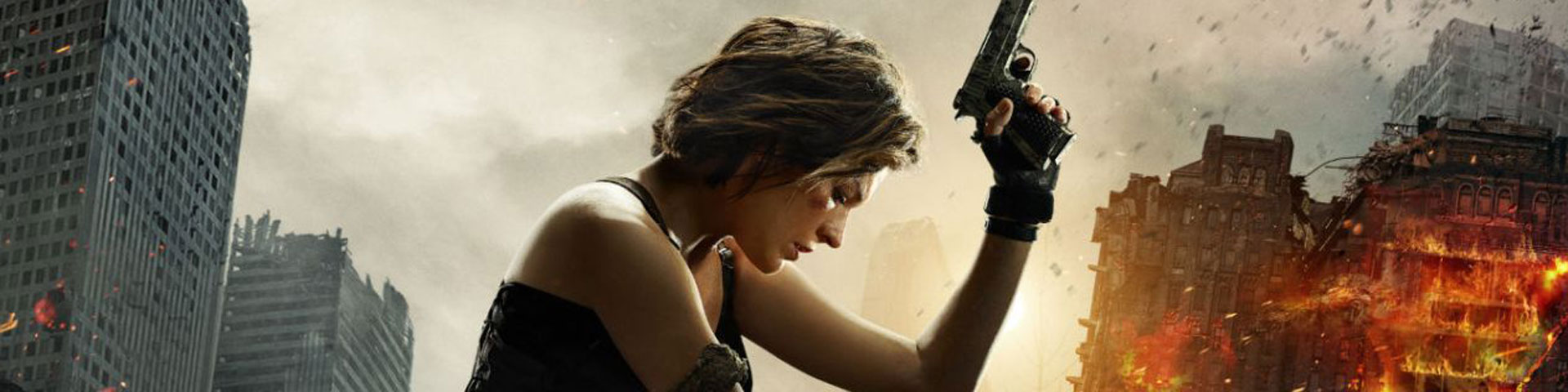 A woman sits on a pile of debris, a gun raised in her left hand while the sun sets behind her. Crumbling buildings appear to the left and right.