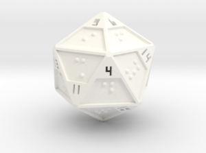 A white twenty-sided die with small black numbers and Braille faces