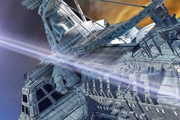 Starships battle in deep space.