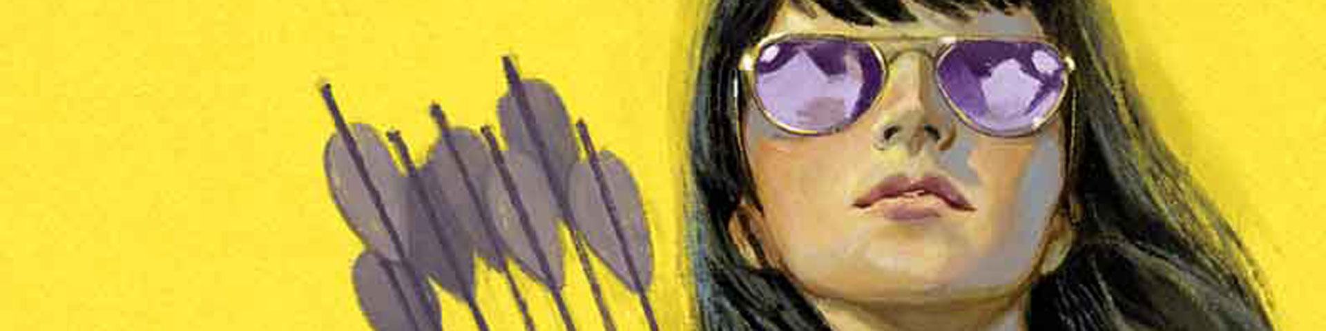 A close-up of Kate Bishop, the other Hawkeye. She's wearing purple sunglasses and the fins of her signature arrows appear to her left.