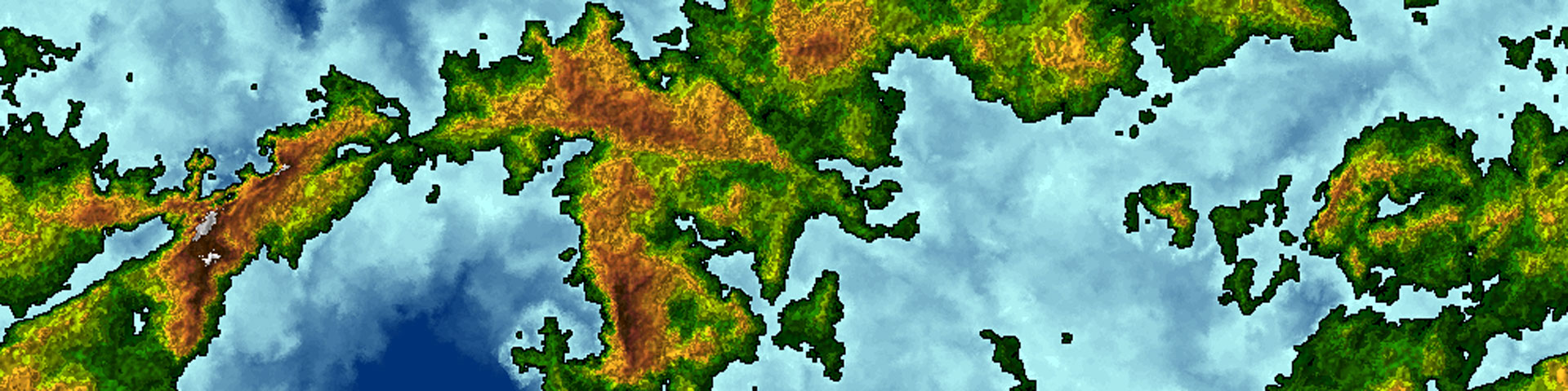 A fractal world map. Land masses are green and orange; water is blue.