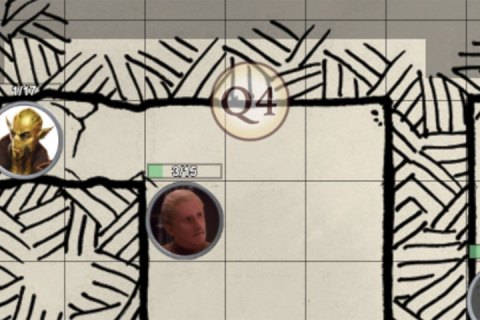 A screenshot of the Roll20 virtual desktop featuring several character icons and a turn tracker.
