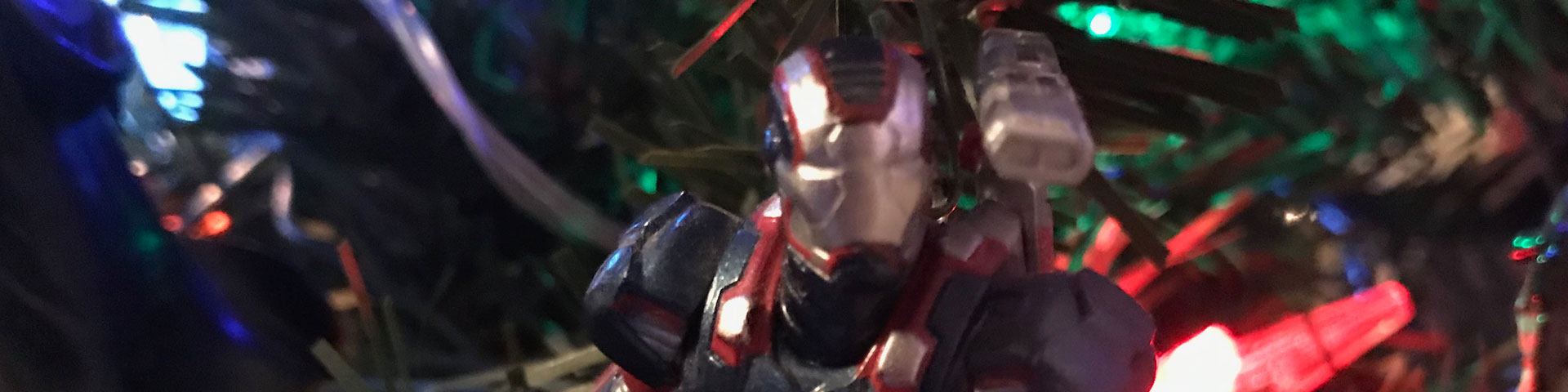 A close up view of the red, white, and blue Iron Man armor.