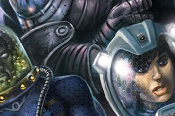 Space-suited explorers enter a derelict starship.
