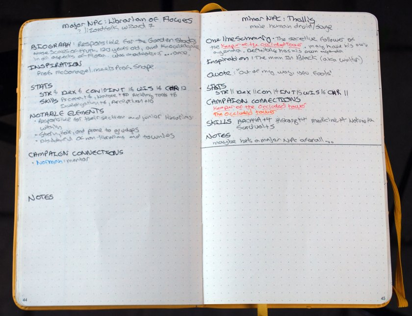An NPC spread. The major NPC takes up a full page on the left; the minor NPC takes up a half-page on the right.