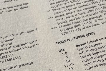 Lines of text which make up a random table-based generator
