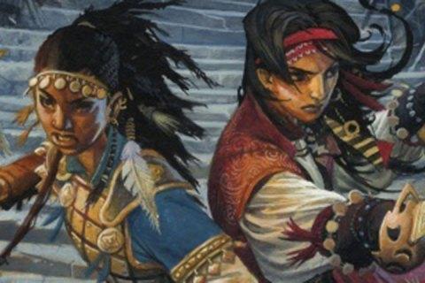 Two sword wielding human adventurers try to fend off serpentfolk