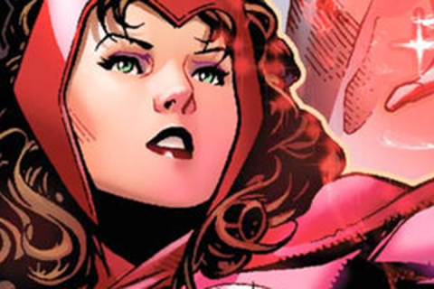 A close-up view of the Scarlet Witch, dressed in her signature red wardrobe.