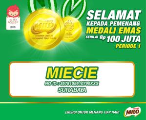 8 Pemenang Utama MILO Sea Games Promo (Medali Emas @100 Juta)