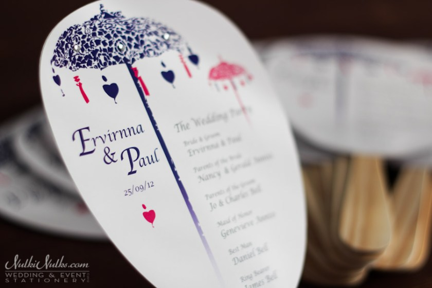 Pink Bali Couple Invitations Paddle Fan With Wedding Party List
