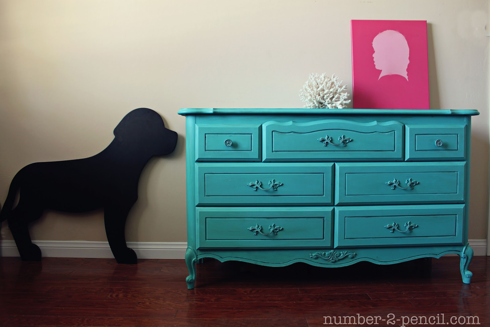 turquoise dresser makeover with