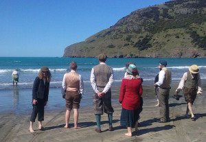 Too cold for me although one member of the party took the plunge. (Waiheke storyteller Tanya Batt. Well done!)