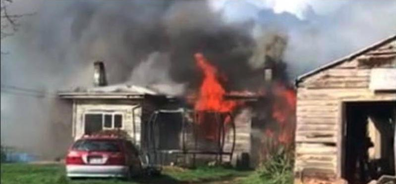 Photo of burning house