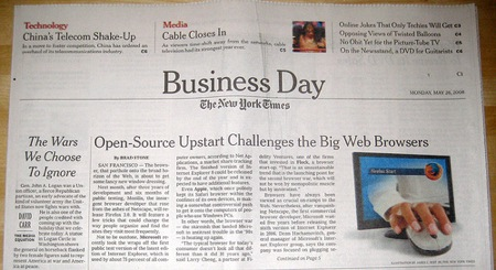 firefox 3 in the new york times